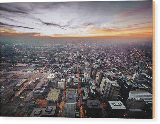 The Metropolis Looking West Wood Print by By Ken Ilio