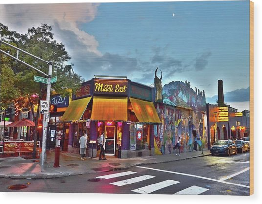 The Middle East In Cambridge Central Square Dusk Wood Print