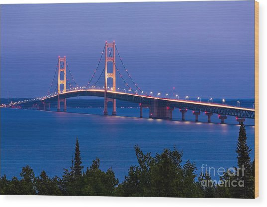 The Mighty Mackinac Bridge, Connecting Wood Print