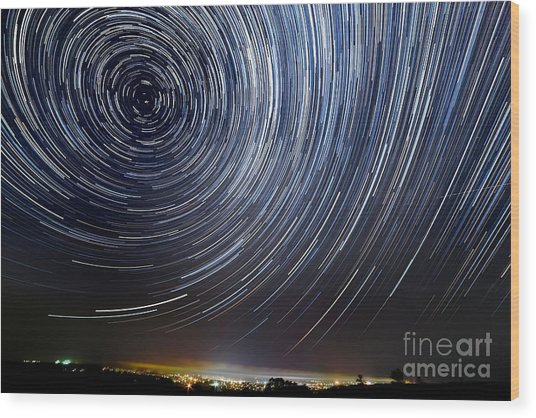 The Motion Of Stars Around Pole Star In Wood Print