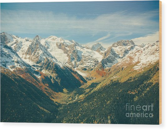 The Mountain Autumn Landscape With Wood Print