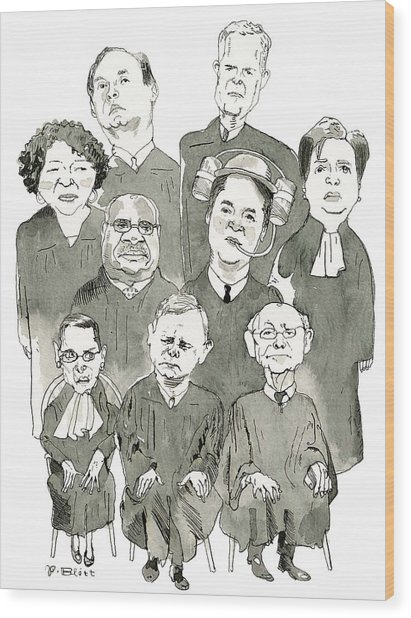 The New Supreme Court Wood Print by Barry Blitt