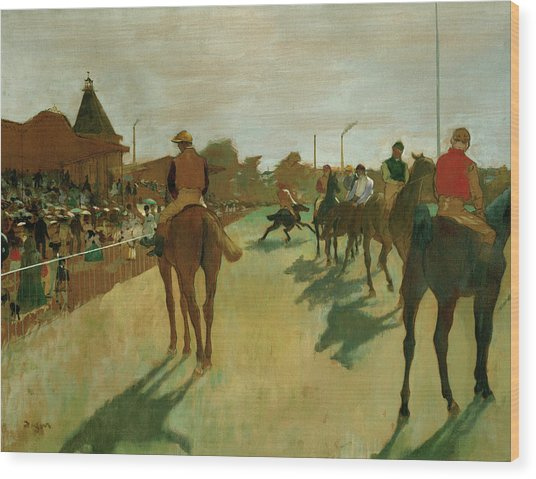 The Parade, Race Horses In Front Of The Tribunes, 1868 Wood Print