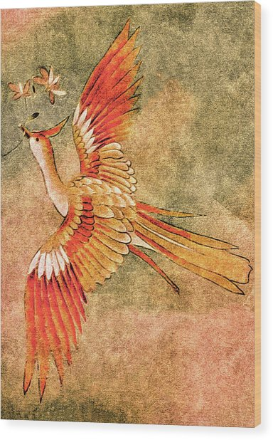 Wood Print featuring the tapestry - textile The Peahen's Gift - Kimono Series by Susan Maxwell Schmidt