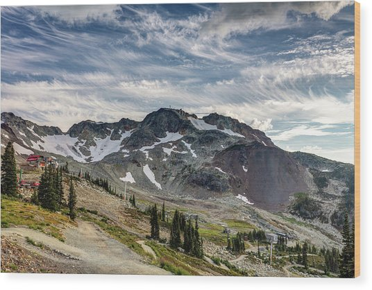 Wood Print featuring the photograph The Peak Of Whistler Mountain With Amazing Cloud Formations by Pierre Leclerc Photography