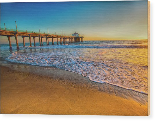 The Pier At Sunset Wood Print by Fernando Margolles