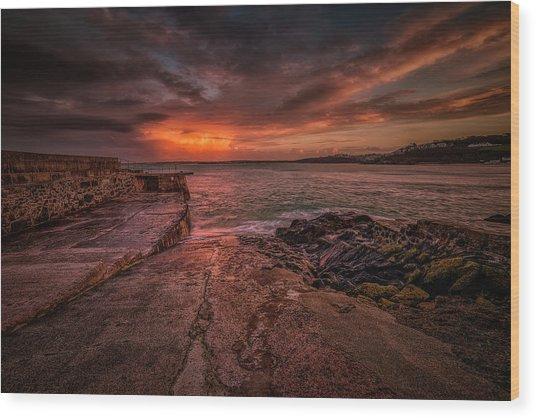 The Pier Sunset Wood Print