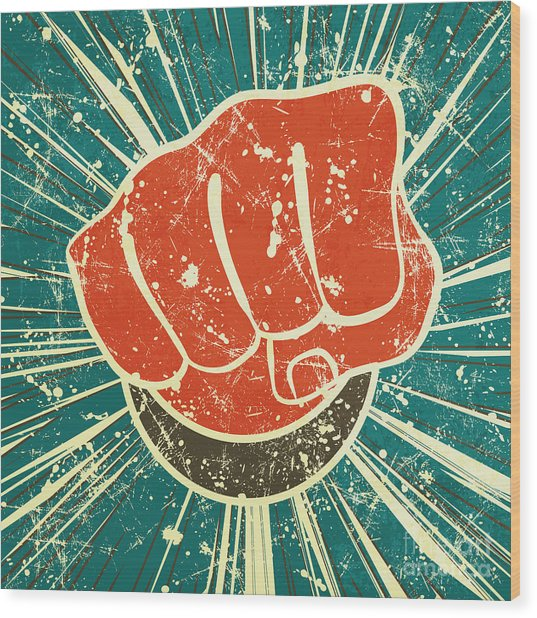 The Punch Fist Of Red Color On A Wood Print