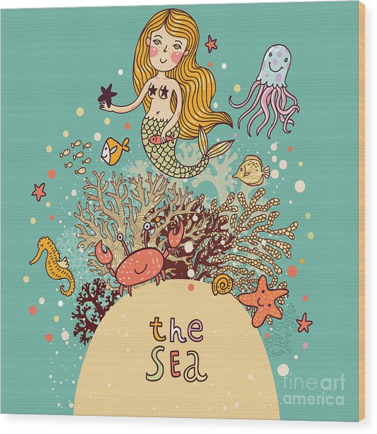The Sea âBright Cartoon Card Wood Print