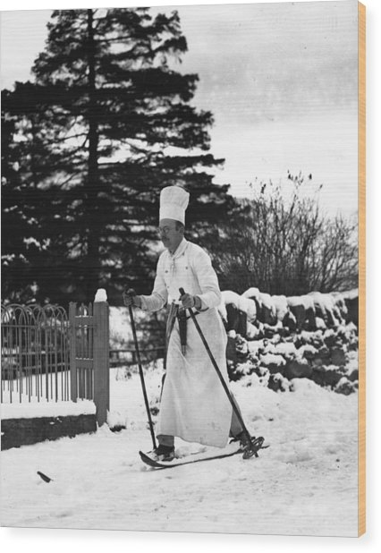 The Skiing Chef Wood Print by Fox Photos