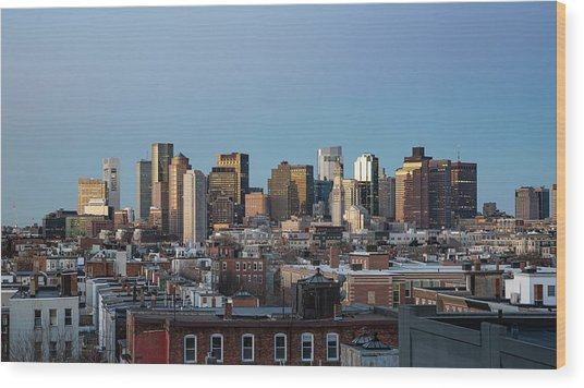 The Skyline Of Boston In Massachusetts, Usa On A Clear Winter Ev Wood Print