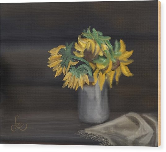 Wood Print featuring the painting The Sun Flowers  by Fe Jones