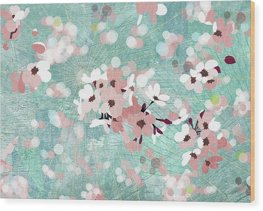 The Sun Shining And Flowers Floating Wood Print