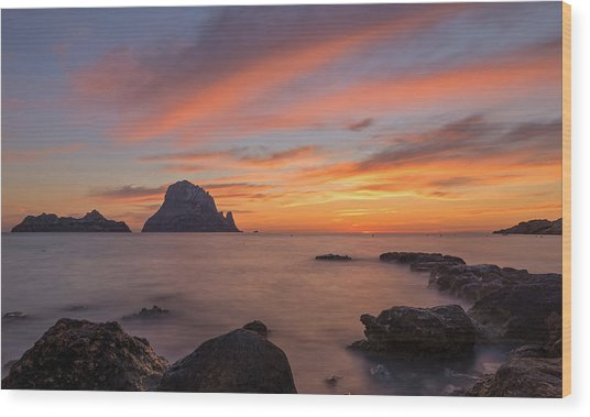 The Sunset On The Island Of Es Vedra, Ibiza Wood Print