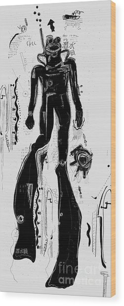 The Symbolic Image Of A Diver That Wood Print