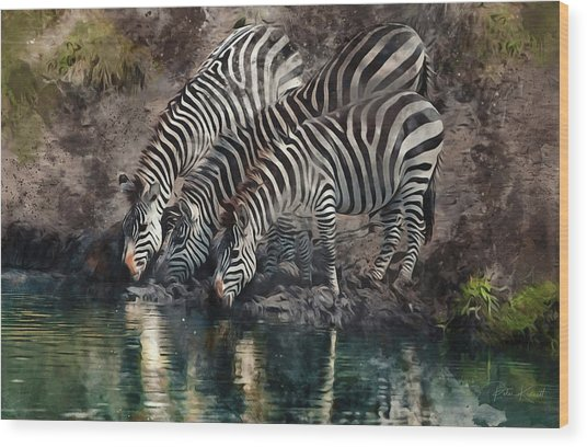 The Waterhole Wood Print