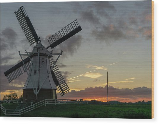 Wood Print featuring the photograph The White Mill by Anjo Ten Kate