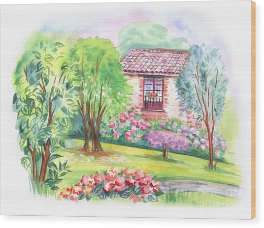 The Window To The Garden. Decorative Wood Print
