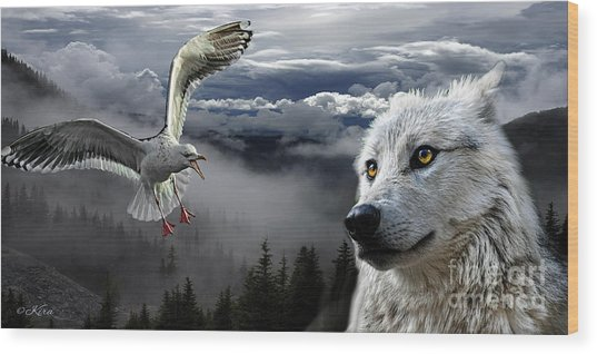 The Wolf And The Gull Wood Print