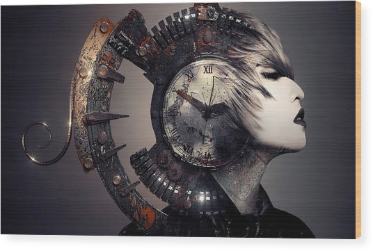 Wood Print featuring the digital art The Woman That Time Forgot by ISAW Company