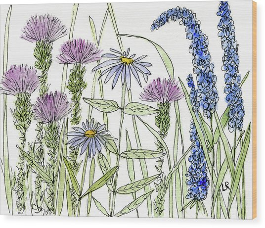 Thistle Asters Blue Flower Watercolor Wildflower Wood Print