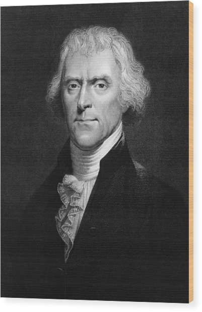 Thomas Jefferson Wood Print by Hulton Archive