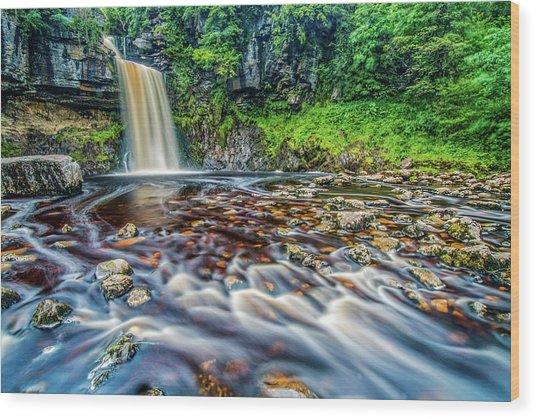 Thornton Force Waterfall Wood Print by David Ross