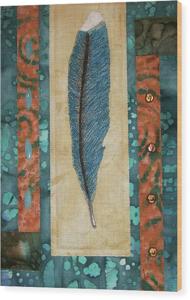 Threaded Feather Wood Print