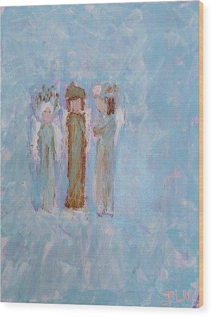 Three Friendly Angels Wood Print
