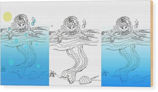 Three Mermaids All In A Row Wood Print