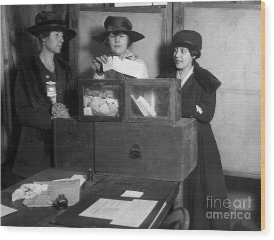 Three Womens Suffragists Casting Votes Wood Print