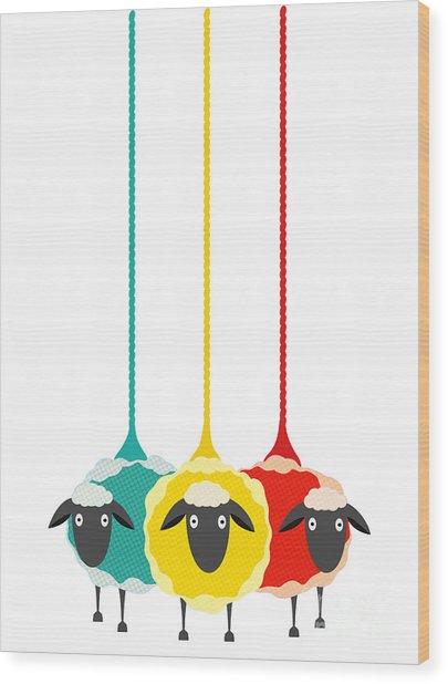Three Yarn Sheep. Vector Eps10 Graphic Wood Print by Popmarleo