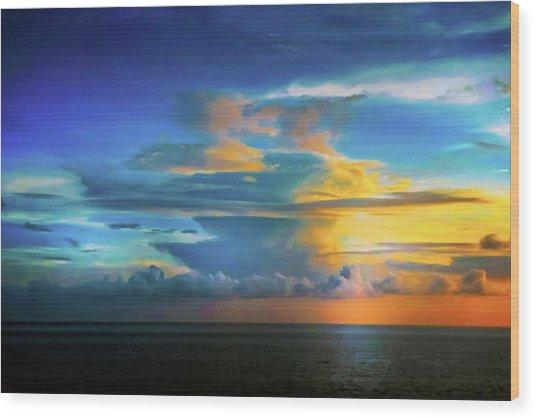 Thunder At Sun Set Wood Print