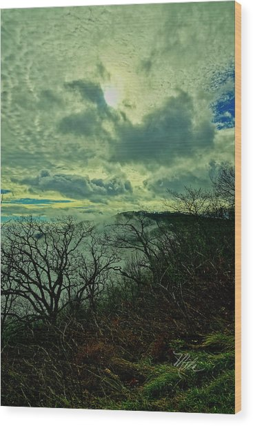 Thunder Mountain Clouds Wood Print