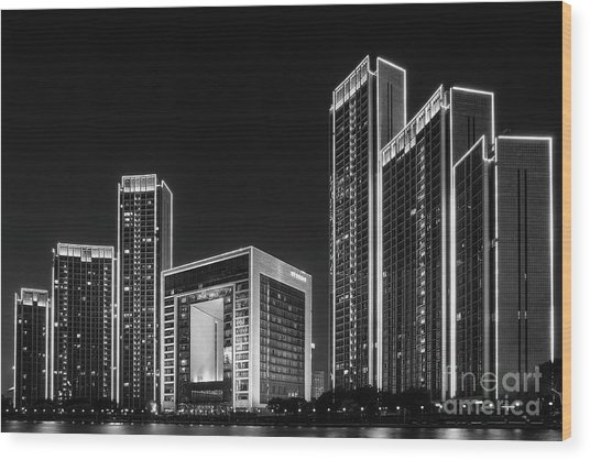 Tianjin Skyline Wood Print
