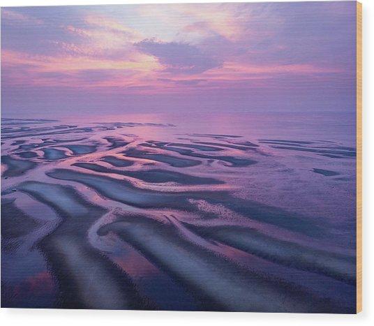 Tidal Flats Sunset Wood Print