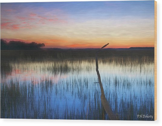Tidal Marshes Sunset Wood Print