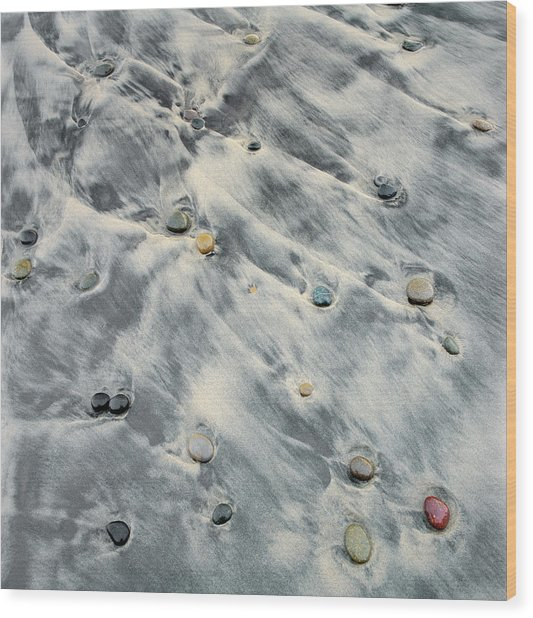 Tide Flowing Over Rocks On Beach Wood Print by Micha Pawlitzki