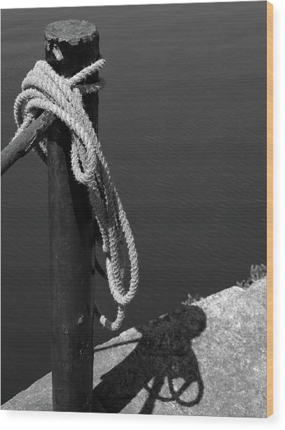 Wood Print featuring the photograph Tied, Rope by Edward Lee