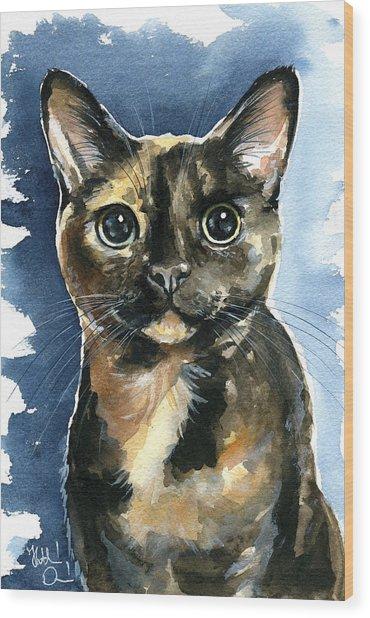 Tiffany Tortoiseshell Cat Painting Wood Print