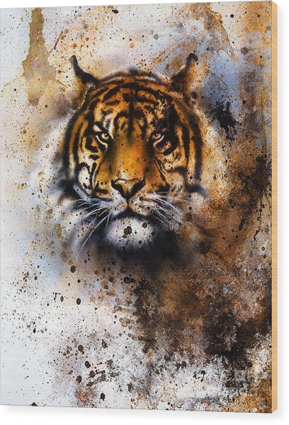 Tiger Collage On Color Abstract Wood Print