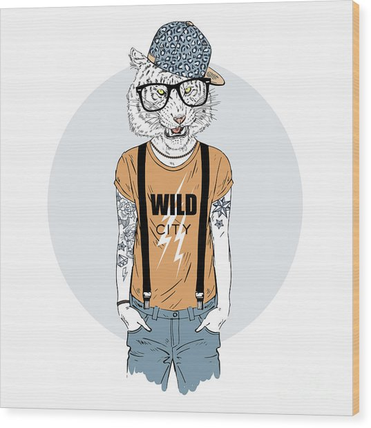 Tiger Man Hipster Dressed Up In Cool Wood Print