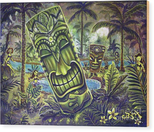 Tiki Genie's Sacred Pools Wood Print
