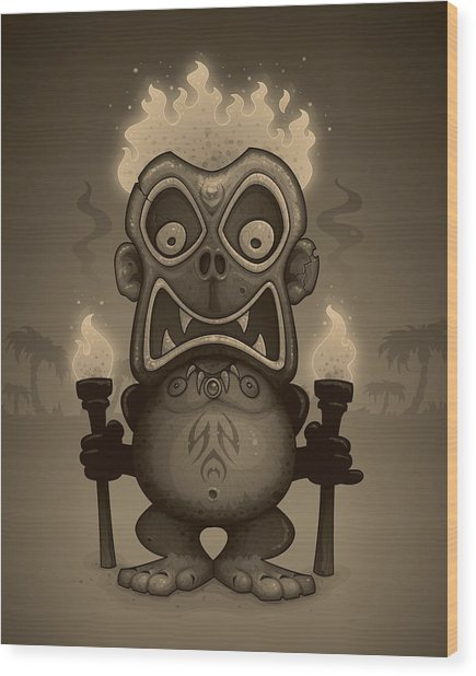 Tiki Munkee Wood Print