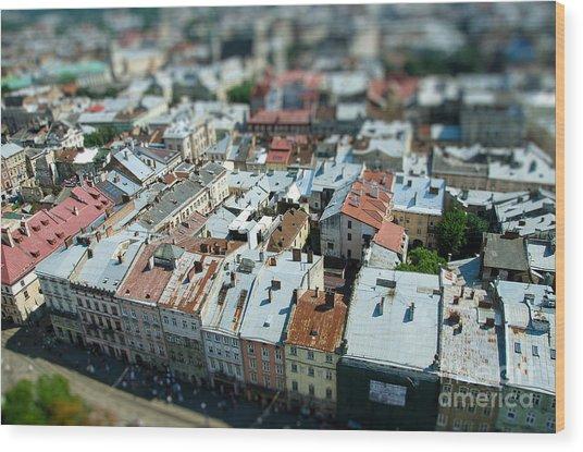 Tilt Shift  Lviv Town Roof In Ukraine Wood Print