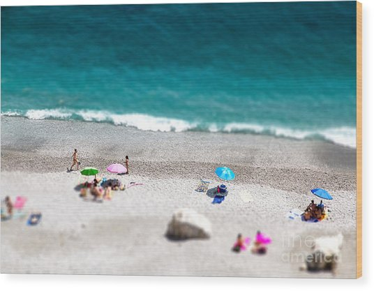 Tilt Shift Of Ocean Beach View With Wood Print