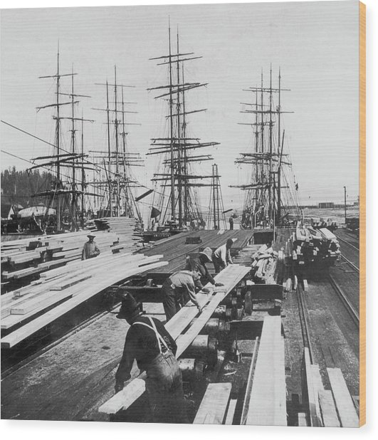 Timber In Tacoma, Washington Wood Print by Archive Photos