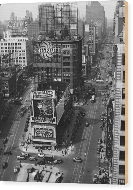 Times Square, Early 1930s Wood Print by Frederic Lewis