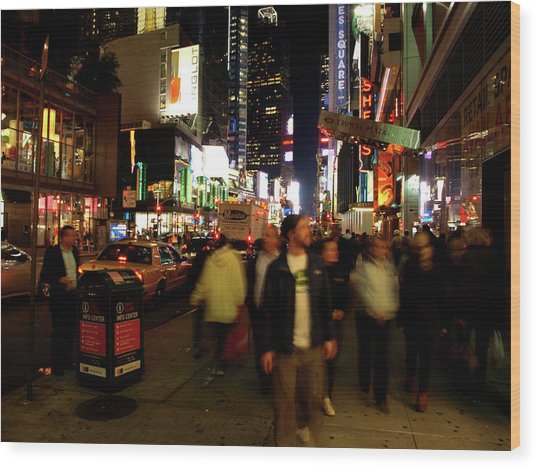 Wood Print featuring the photograph Time Square, Two by Edward Lee