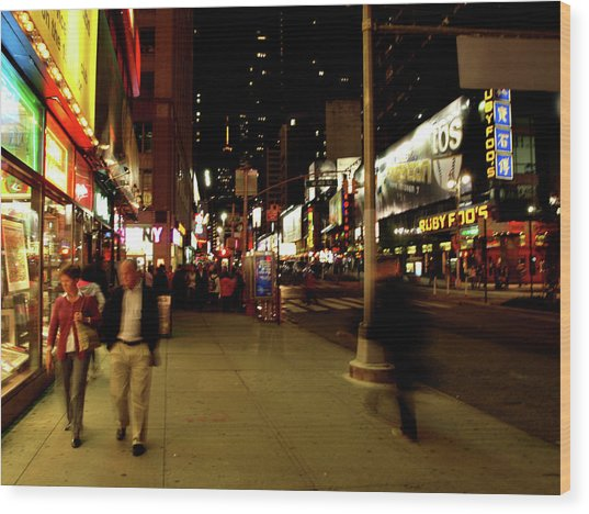 Wood Print featuring the photograph Time Square, One by Edward Lee